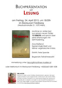 Einladung Lesung 13 GEBOTE im Feldberg